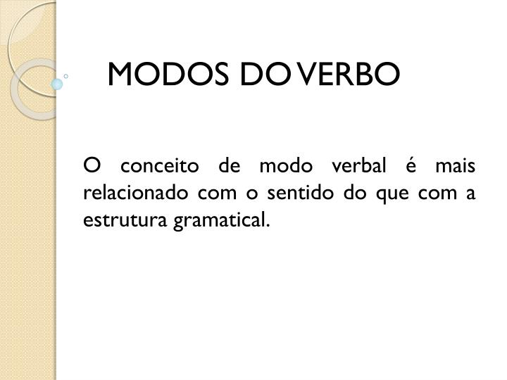 MODOS DO VERBO