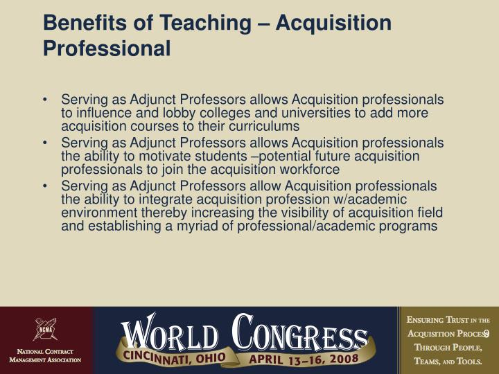 Benefits of Teaching – Acquisition Professional