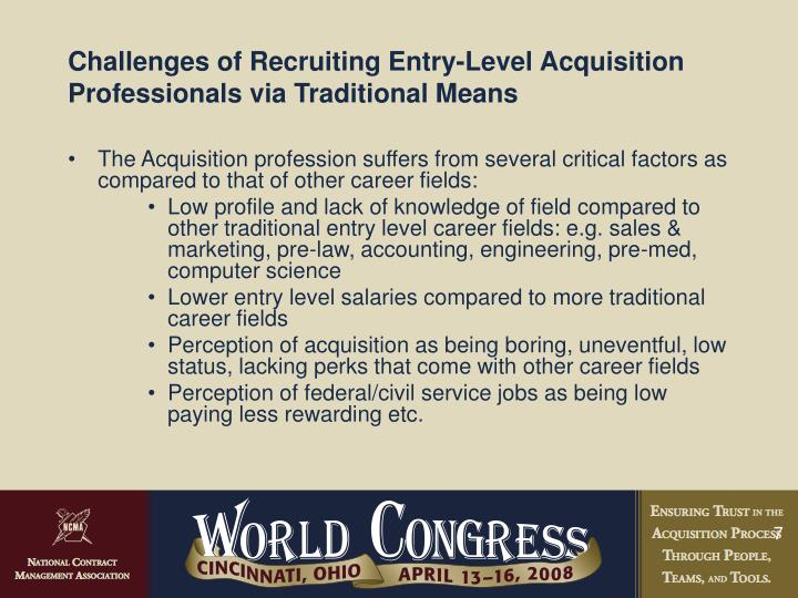 Challenges of Recruiting Entry-Level Acquisition Professionals via Traditional Means