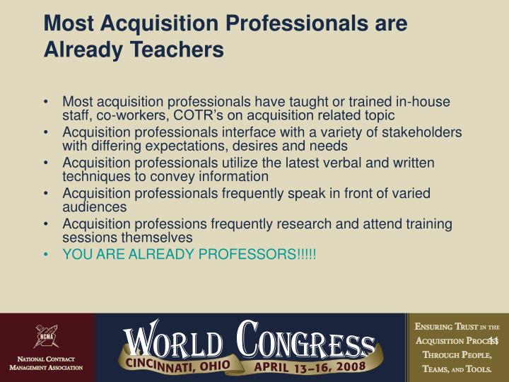 Most Acquisition Professionals are Already Teachers