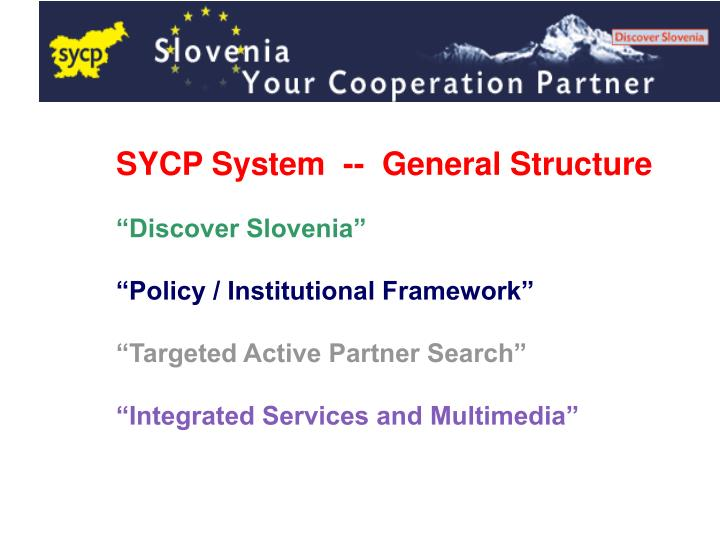 SYCP System  --  General Structure