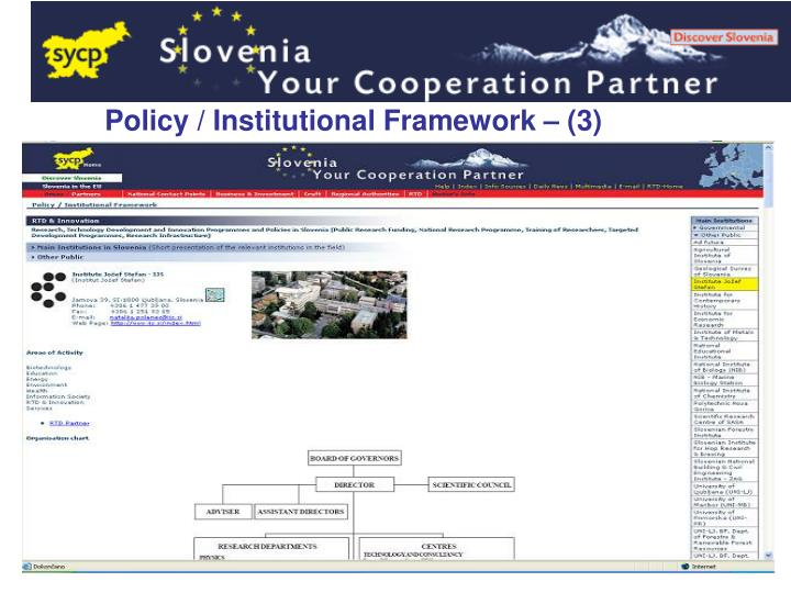 Policy / Institutional Framework