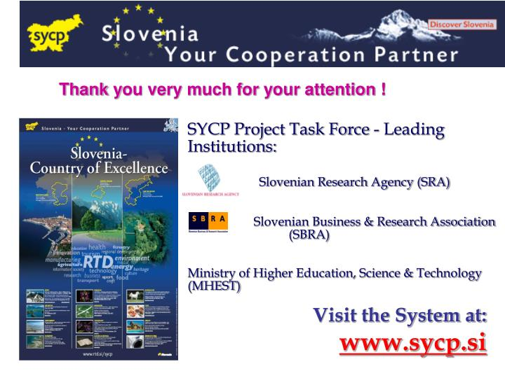 SYCP Project Task Force - Leading Institutions:
