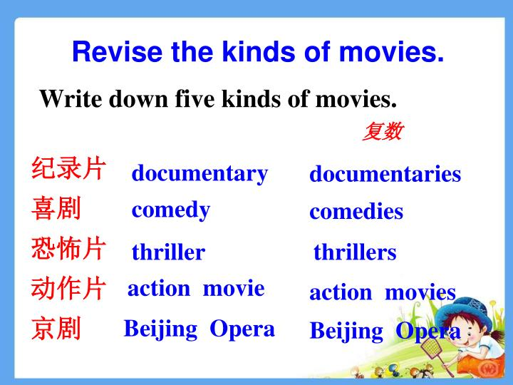 Revise the kinds of movies.
