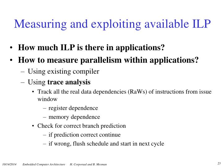 Measuring and exploiting available ILP