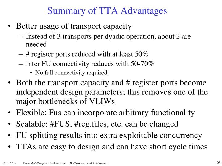 Summary of TTA Advantages