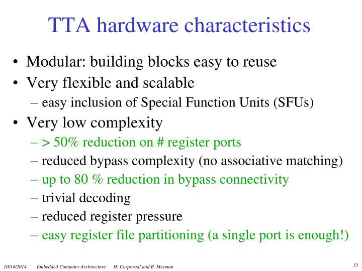TTA hardware characteristics