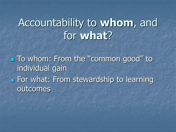 Accountability to