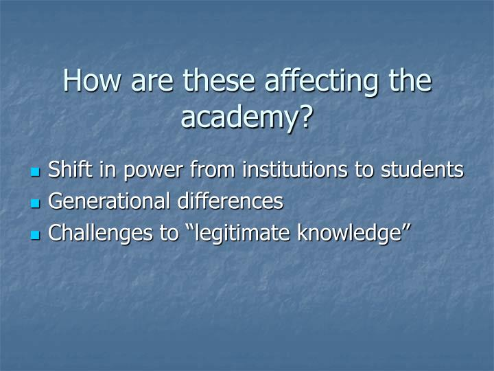 How are these affecting the academy?