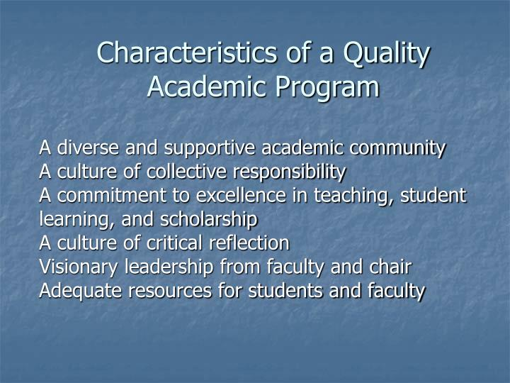 Characteristics of a Quality Academic Program