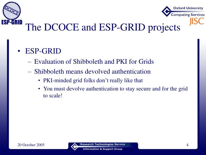 The DCOCE and ESP-GRID projects