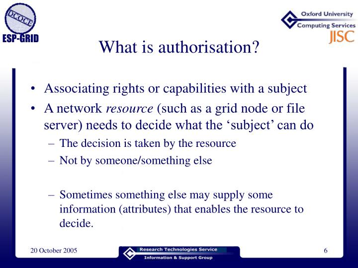 What is authorisation?