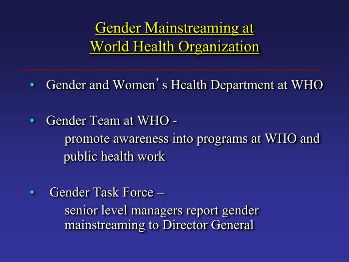 Gender Mainstreaming at