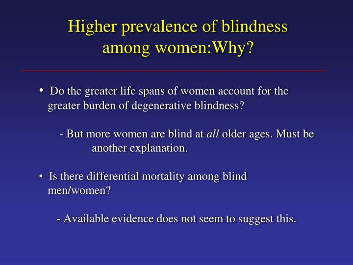Higher prevalence of blindness