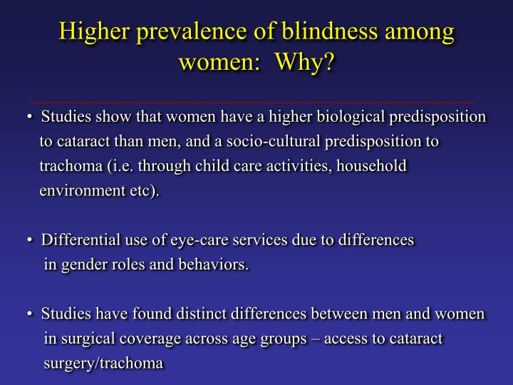 Higher prevalence of blindness among women:  Why?