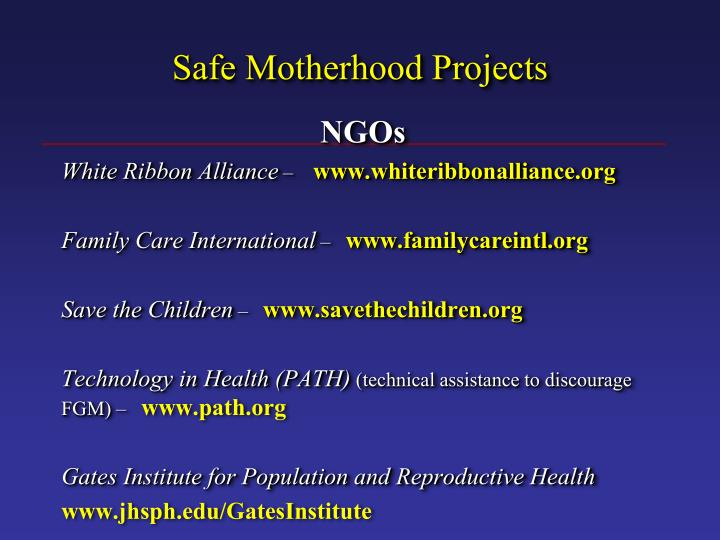 Safe Motherhood Projects