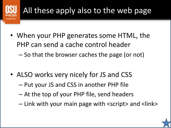 All these apply also to the web page
