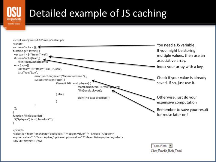 Detailed example of JS caching