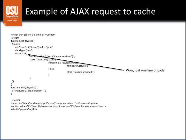 Example of AJAX request to cache