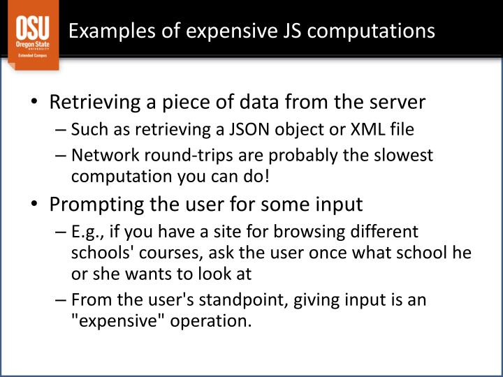 Examples of expensive JS computations