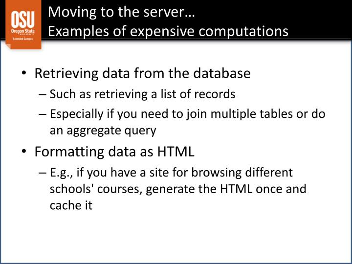 Moving to the server…