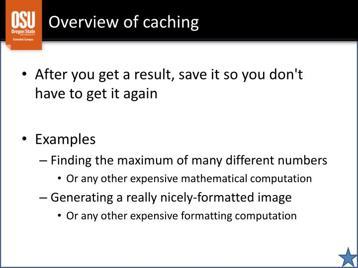 Overview of caching