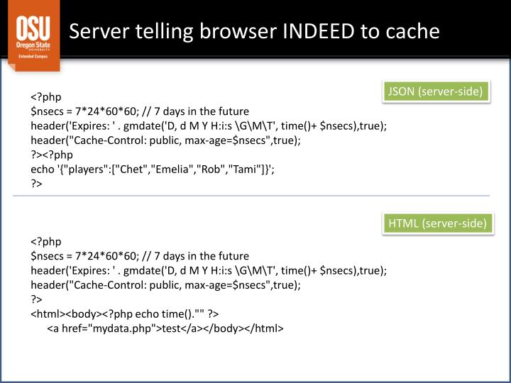 Server telling browser INDEED to cache