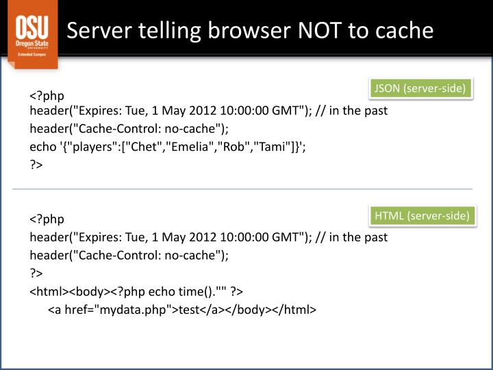 Server telling browser NOT to cache