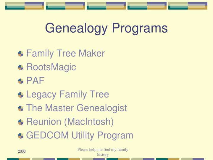 Genealogy Programs
