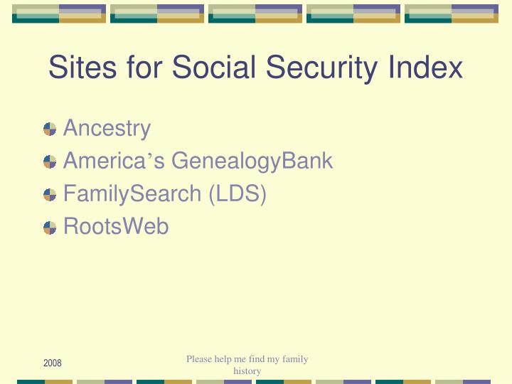 Sites for Social Security Index