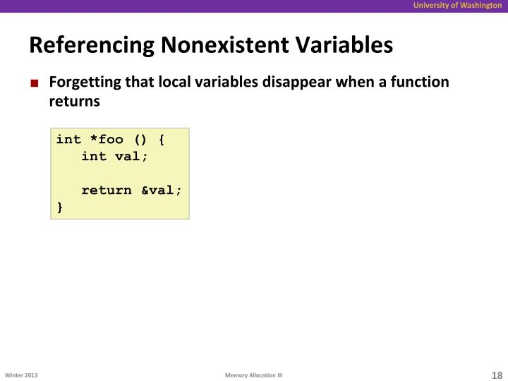 Referencing Nonexistent Variables
