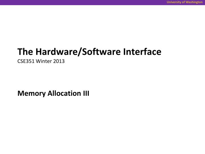 The Hardware/Software Interface