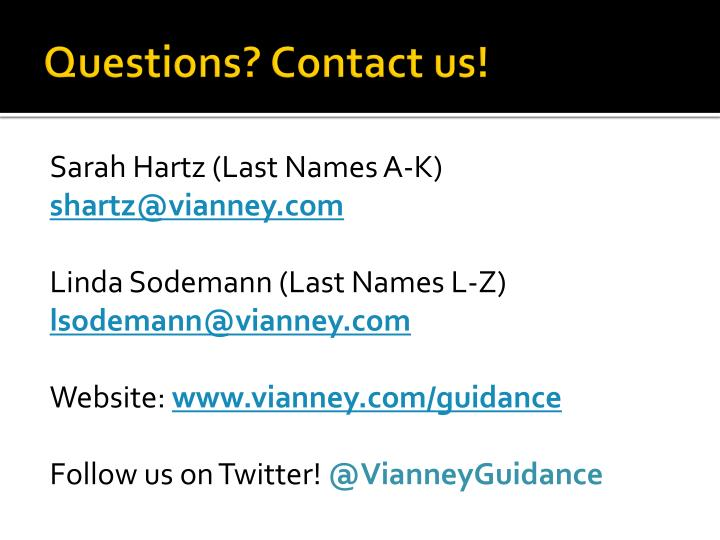 Questions? Contact us!