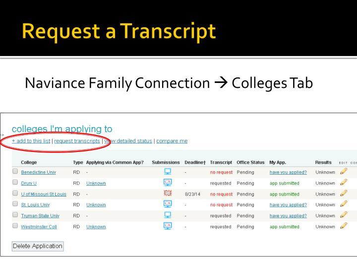 Request a Transcript