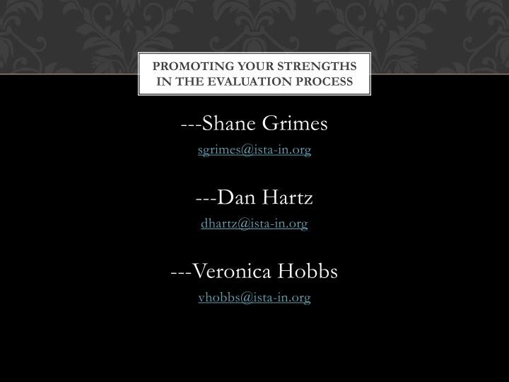 Promoting your strengths
