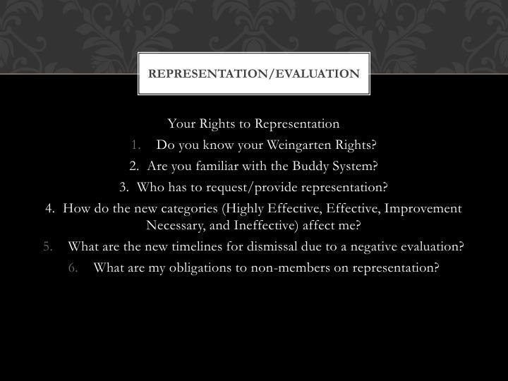 Representation/Evaluation