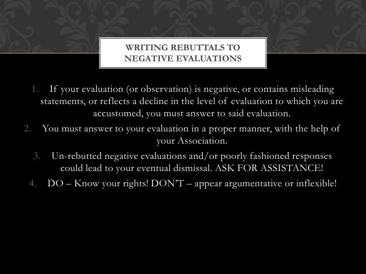 Writing Rebuttals to negative evaluations