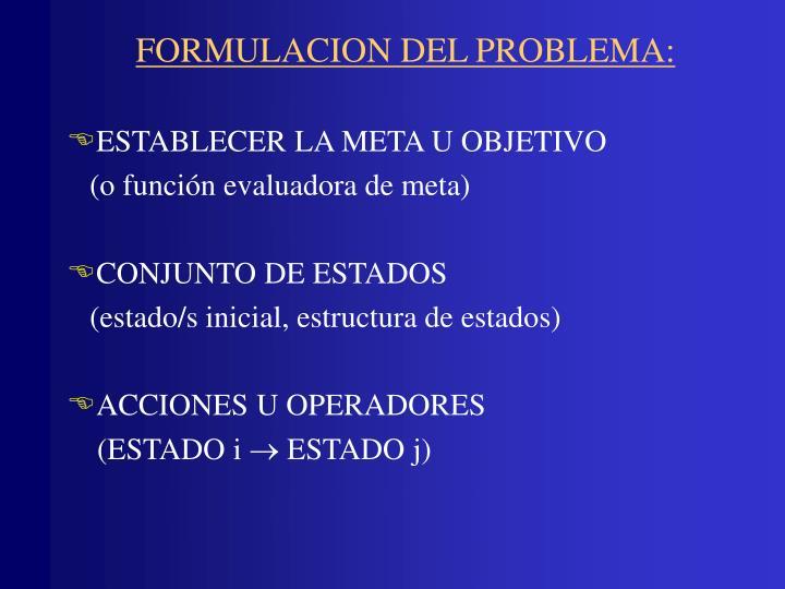 FORMULACION DEL PROBLEMA: