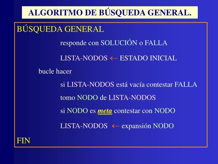 ALGORITMO DE BÚSQUEDA GENERAL.