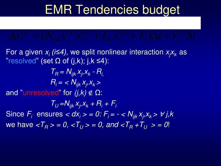 EMR Tendencies budget