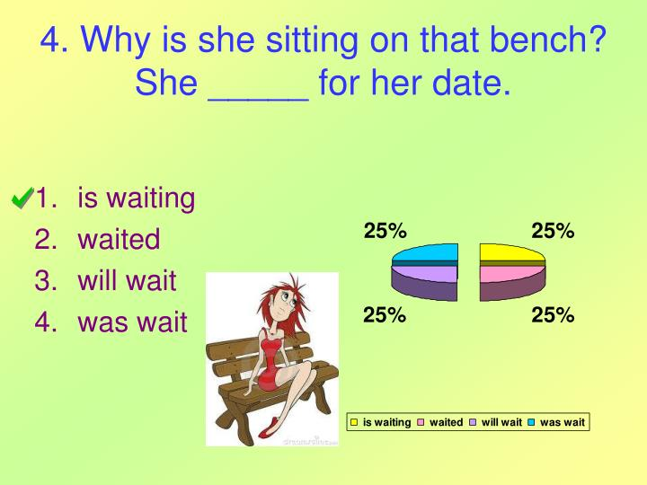4. Why is she sitting on that bench? She _____ for her date.
