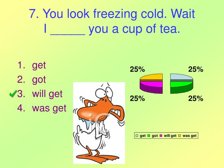 7. You look freezing cold. Wait
