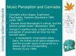 music perception and cannabis