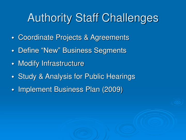 Authority Staff Challenges