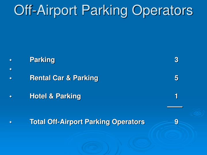 Off-Airport Parking Operators