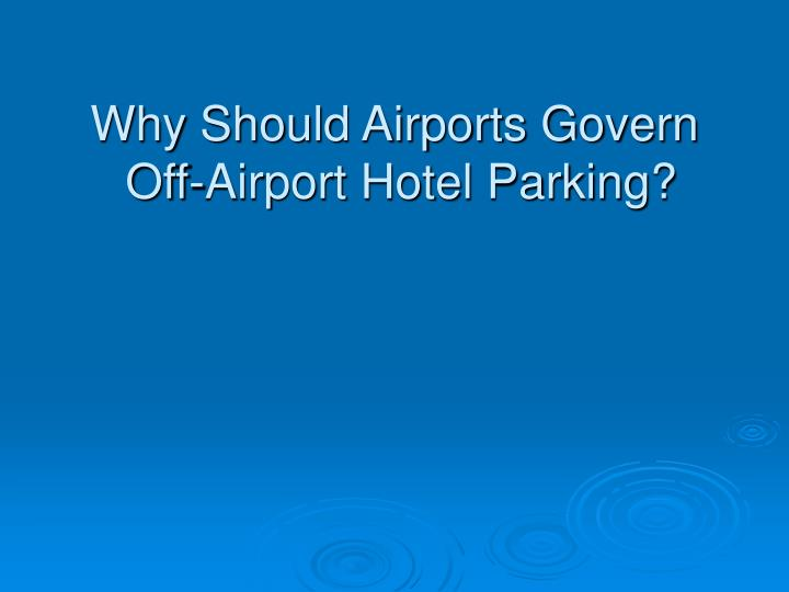 Why Should Airports Govern