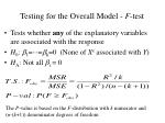 testing for the overall model f test