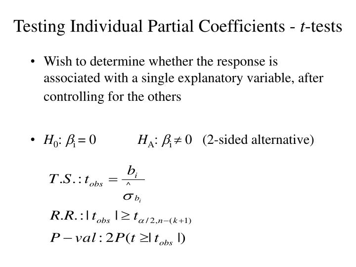 Testing Individual Partial Coefficients -