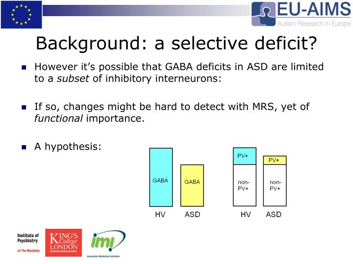 Background: a selective deficit?