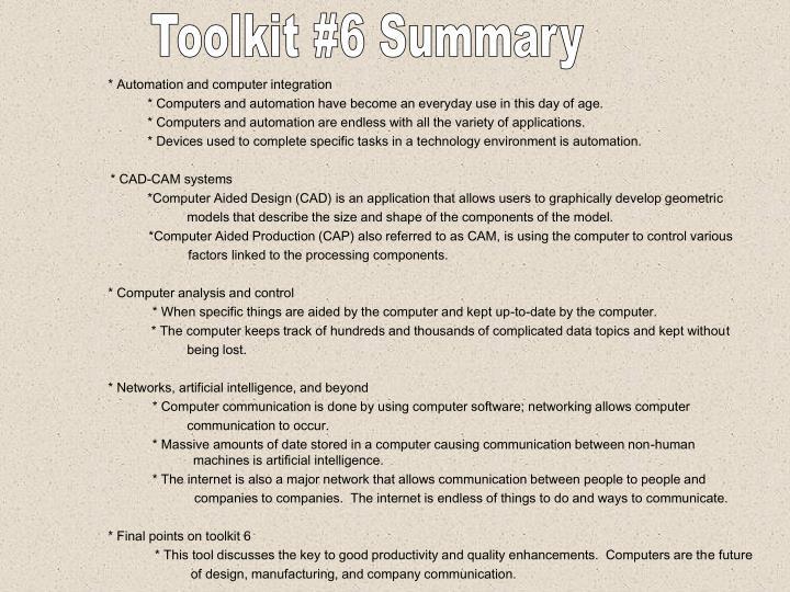 Toolkit #6 Summary